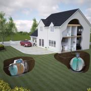 Sewage Treatment Plant & Rainwater Harvester Illustration